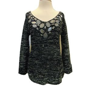 BCBGMAXAZRIA  V-neck stone neckline sweater Sz S